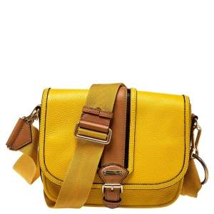 Burberry Tri Color Grained Leather Buckle Flap Crossbody Bag