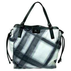 Burberry Black Smoked Check Nylon and Leather Buckleigh Tote
