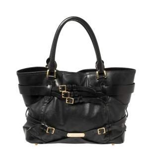 Burberry Black Leather Medium Bridle Lynher Tote