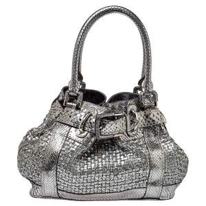 Burberry Metallic Silver Python Beaton Bag