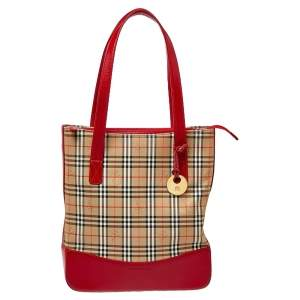 Burberry Red Leather And Check Canvas Haymarket Large Tote