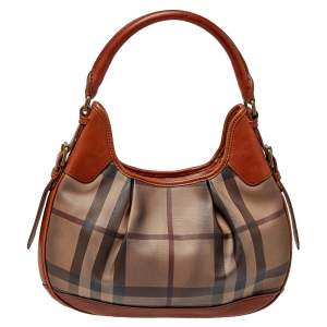 Burberry Brown House Check PVC and Leather Brooklyn Hobo