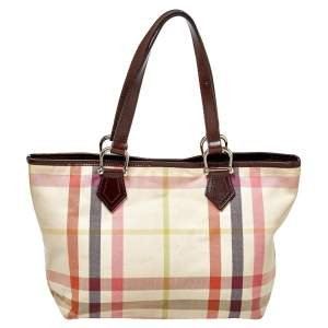 Burberry Multicolor House Check Canvas and Leather Snap Tote