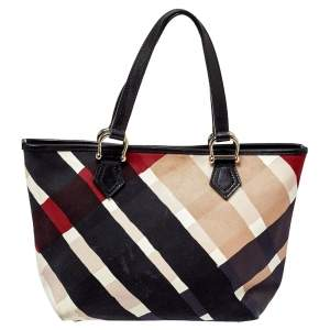 Burberry Multicolor Check Canvas and Leather Snap Tote