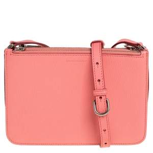 Burberry Blush Pink Leather Triple Zip Crossbody Bag