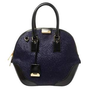 Burberry Blue/Black Calf Hair and Leather Medium Orchard Bowling Bag