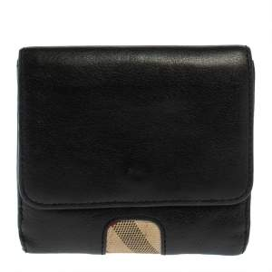Burberry Black/Beige Leather and Canvas Trifold Wallet
