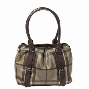 Burberry Beige/Burgundy Smoke Check Coated Canvas and Leather Northfield Tote