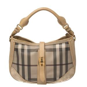 Burberry Beige Beat Check PVC, Leather and Suede Bartow Perforated Hobo