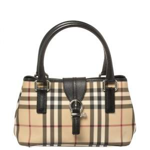 Burberry Black Nova Check Vinyl Small Eden Satchel