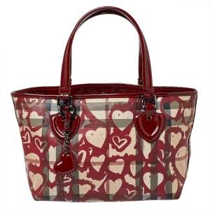 Burberry Burgundy Supernova Heart Check Coated Canvas and Patent Leather Large Tote