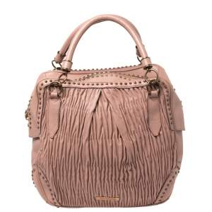 Burberry Old Rose Plisse Leather Studded Satchel