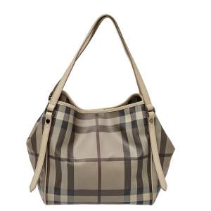 Burberry Beige Smoke Check Coated Canvas and Leather Small Canterbury Tote