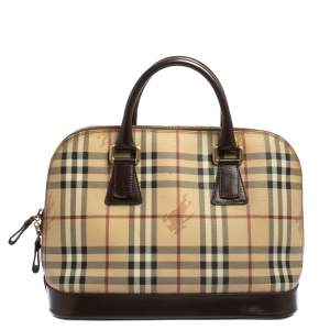 Burberry Beige/Brown Haymarket Check Coated Canvas and Leather Dome Satchel