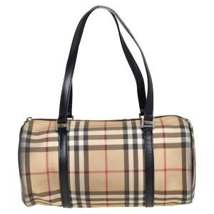 Burberry Beige/Black Nova Check Coated Canvas and Leather Boston Bag