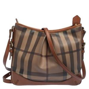 Burberry Brown Smoke Check PVC and Leather Hartham Crossbody Bag