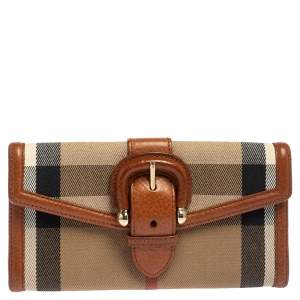 Burberry Beige Nova Check Canvas and Leather Buckle Flap Wallet