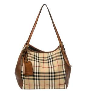 Burberry Beige/Brown Haymarket Check Canvas and Leather Small Canterbury Tote