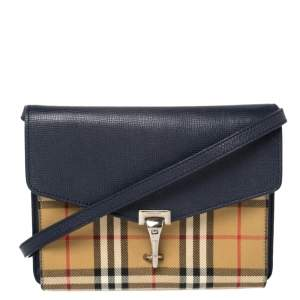 Burberry Blue/Beige Vintage Check Canvas and Leather Macken Crossbody Bag
