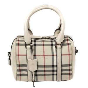 Burberry Beige Haymarket Check Nylon and Leather Boston Bag