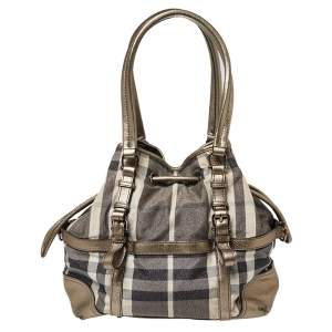 Burberry Metallic/Grey House Check Shimmer Fabric and Leather Drawstring Buckle Tote
