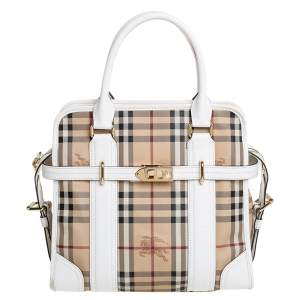 Burberry Beige/White Haymarket Check PVC and Leather Minford Satchel