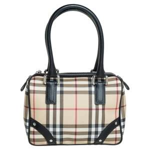Burberry Beige House Check Coated Canvas Small Chester Boston Bag