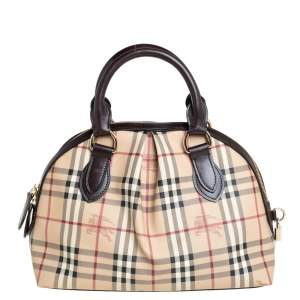 Burberry Beige/Brown Haymarket Check Coated Canvas and Leather Thornley Satchel