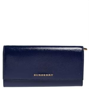 Burberry Blue Patent Leather Continental Wallet