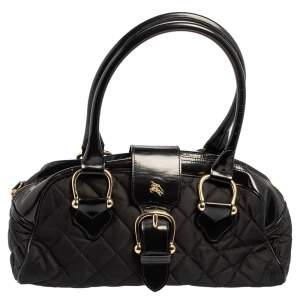 Burberry Black Quilted Nylon and Patent Leather Satchel