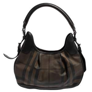 Burberry Black Smoked Check PVC and Leather Small Brooklyn Hobo