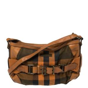 Burberry Brown/Orange Check Canvas and Leather Belted Crossbody Bag