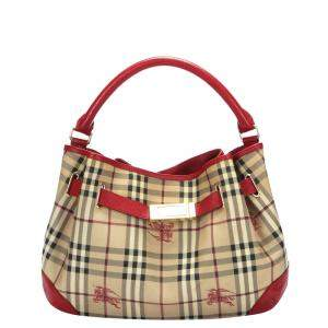Burberry Brown/Red Haymarket Check Canvas Bag