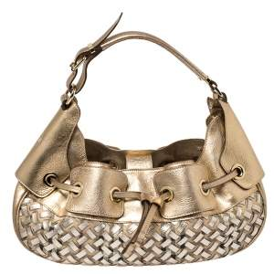 Burberry Metallic Gold  Woven House Check PVC and Leather Warrior Hobo