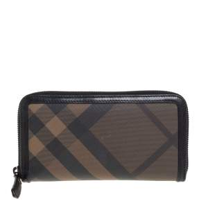 Burberry Black Nova Check Coated Canvas and Leather Zip Around Wallet