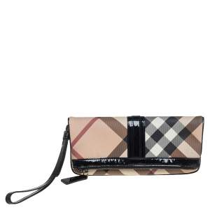 Burberry Black/Beige Nova Check Coated Canvas and Patent Leather Foldover Clutch