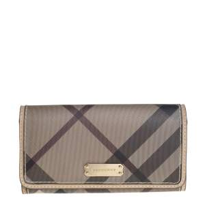 Burberry Beige Nova Check Coated Canvas and Leather Continental Wallet