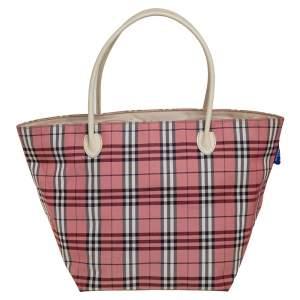 حقيبة يد بربري غيانت ذات وجهين متوسطة كانفاس مربعات فيتدج أحمر و بيج