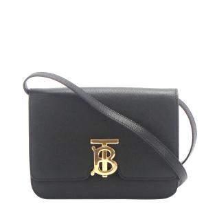 Burberry Black Leather TB Crossbody Bag
