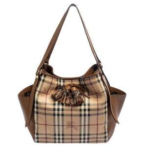 Burberry Beige/Tan Haymarket Check PVC and Leather Tote