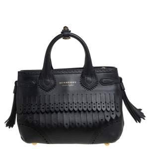 حقيبة يد بربري بانير صغيرة شراشيب جلد بروغ أسود