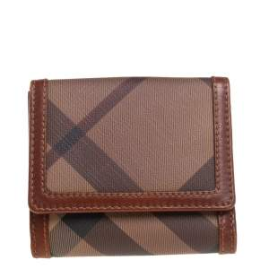 Burberry Beige/Brown Nova Check Coated Canvas and Leather Trifold Wallet