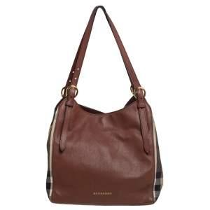 حقيبة يد بربري كنتربري صغيرة قماش كاروهات هاوس وجلد بيج/ بني