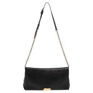 Burberry Black Grained Leather Langley Chain Shoulder Bag