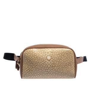 Burberry Beige Stingray Print Coated Canvas and Leather Cube Belt Bag