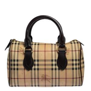 Burberry Beige/Brown Haymarket Check PVC and Leather Boston Bag