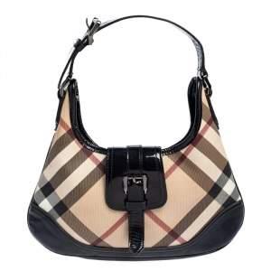 Burberry Black/Beige Nova Check PVC and Patent Leather Mini Brooke Hobo