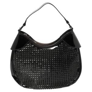 Burberry Black Studded Patent Leather Elly Hobo