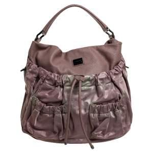 حقيبة هوبو بربري جيب أمامي أربطة جلد ونايلون كاروهات روز أولد