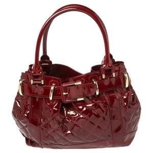 Burberry Burgundy Patent Leather Quilted Beaton Bag